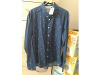 Jack Jones New Casual Blue Shirt Large