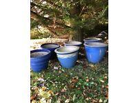 Vintage Decorative Blue-glazed Large Garden Pots