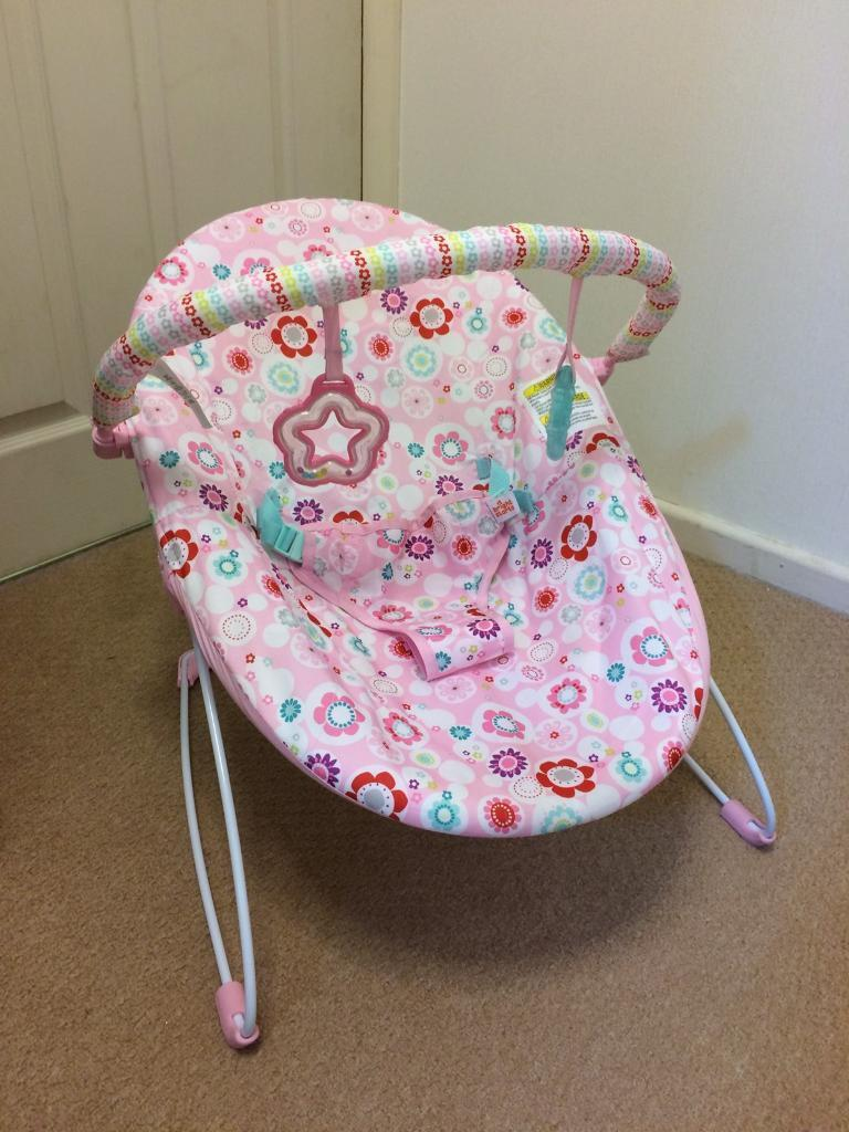 3627745b2 Bright Starts Pink Vibrating Baby Bouncer - as new