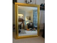Large Gilded Wooden Framed Wall Bevelled Mirror 103cms x 73cms