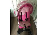 Century pink pushchair and tomy pink bed guard
