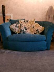 Teal 3 seater with 2 seater swivel chair