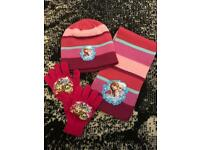 Disney frozen hat scarf and gloves set