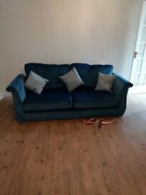 Beautiful blue velvet touch 3 seater sofa