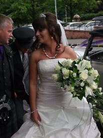 JONATHON JAMES COUTURE designer ivory wedding dress with accessories £400 ono