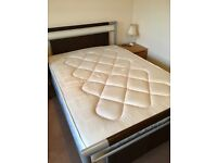 Silver metal & dark brown faux leather double bed-good condition with nearly new double mattress