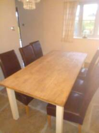 Rustic solid oak dining room table