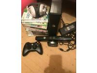 xbox with kinnect, controller, headphones and a load of games