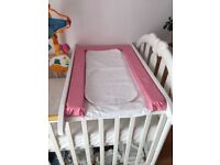 Baby white cot top changer & change mat