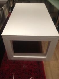 White Table with metal frame