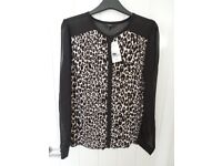 A Genuine NEXT Size 16 Top Round Neck Leopard Print Detail With Sheer Sleeves