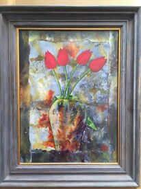 Pater Mc Carthy (Suffolk painter) four Tulips mixed media painting