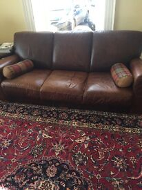 Brown leather ex gillies sofa