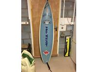 "CJ surfboard 6""4 with local motion board bag"