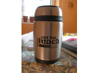 Hot Food Flask - Pioneer, Out for Lunch Metal with spoon