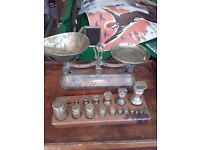 Antique Brass Scales and Weights