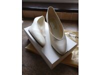 Ivory silk court shoes