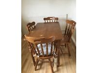 Dark pine dining room/kitchen table and 4 chairs