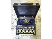 Vintage Silver-Reed 'Silverette' dark blue metal base typewriter