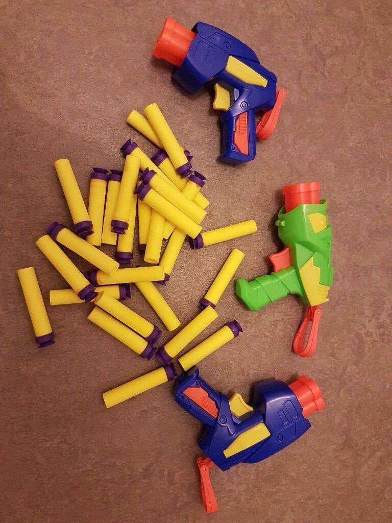 3 x Nerf Style guns