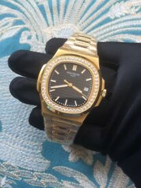 New rose gold with diamond ice patek philippe watch
