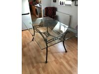 Glass Dining Table with Metal Base