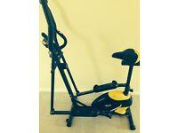Cross trainer / exercise bike. Adjustable saddle, digital display