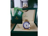 Brand New Gold Rolex Yacht-Master White/Blue face, Comes Rolex bagged, Boxed with paperwork.