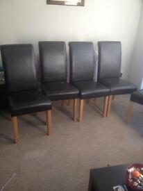 Chairs (six faux leather brown )