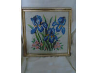 VINTAGE BEAUTIFUL HAND EMBROIDERED TAPESTRY FRAMED PICTURE BLUE IRISES