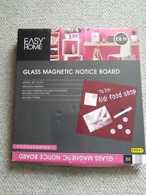 Glass Magnetic Notice Board, red, still in box, as new, 40 x 40cm
