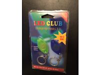 2 x LED CLUB ultra-bright intensity Led key rings. Includes lithium battery, green and blue