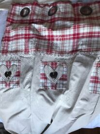 Natural linen, red embroidered heart print curtains