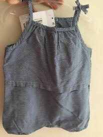 M&S Blue stripe romper outfit baby
