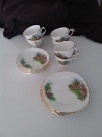 Vintage English Cottage Garden bone china tea set -REDUCED