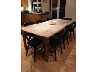 Traditional farmhouse pine table 210cm x 100cm table and 8 chairs