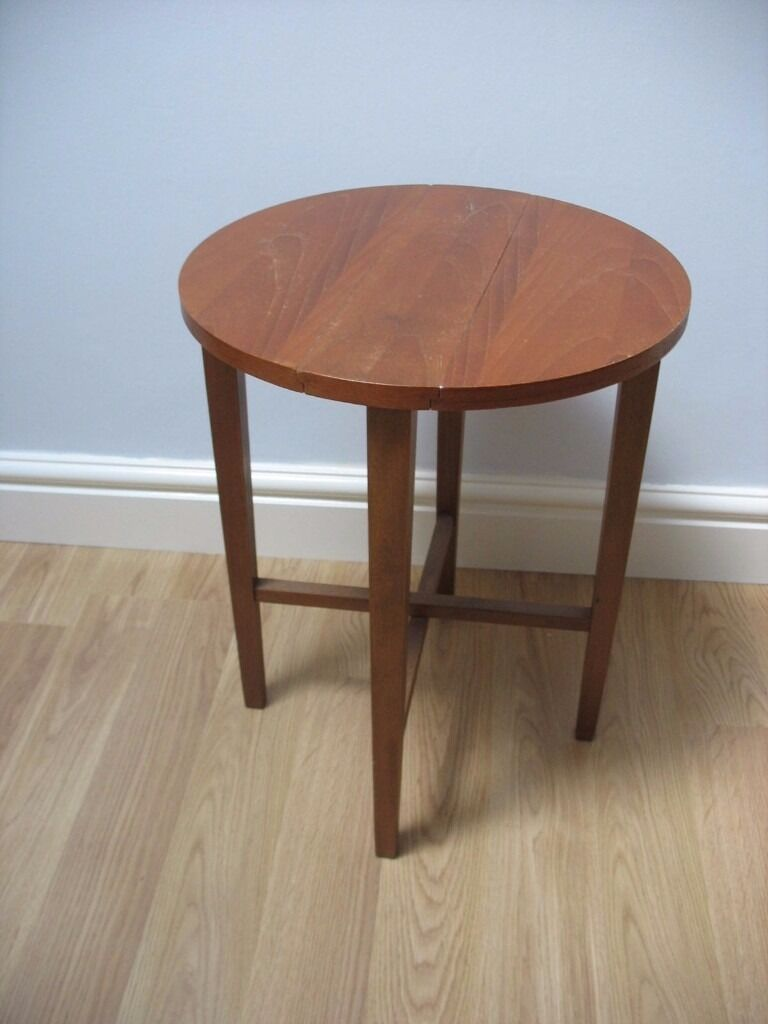 Retro Mid Century Round Folding Side Table Plant Stand