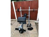 Heavy Duty Bench with Cast Weights Set. •Can Deliver•