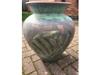 LARGE VINTAGE DECORATED TERRACOTTA URN FOR GARDEN PATH,PATIO OR DRIVE.
