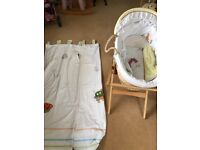 Mamas and Papas gingerbread unisex Moses basket and matching curtains
