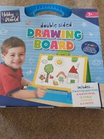 Wipeable double sided drawing board