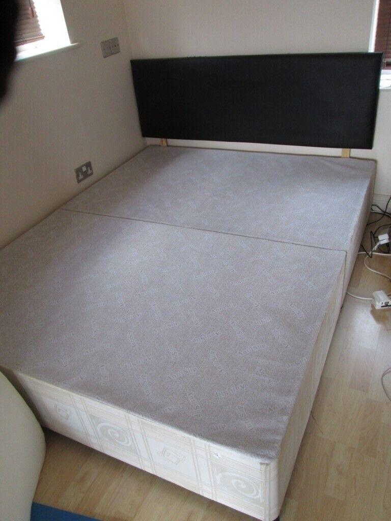 best loved 671e0 4e304 king size divan base with faux leather headboard   in Newcastle, Tyne and  Wear   Gumtree