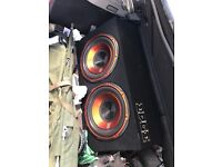 """12 """" edge subs in box with built in amp"""