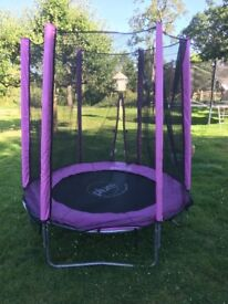 Child's pink trampoline. 6 foot with safety netting all round. Hardly used. Excellent condition.