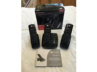 Digital Cordless Phones (3) with Answering Machine - Motorola D4A Triple DEC - Excellent Condition