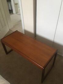 Retro solid teak coffee table 1970s