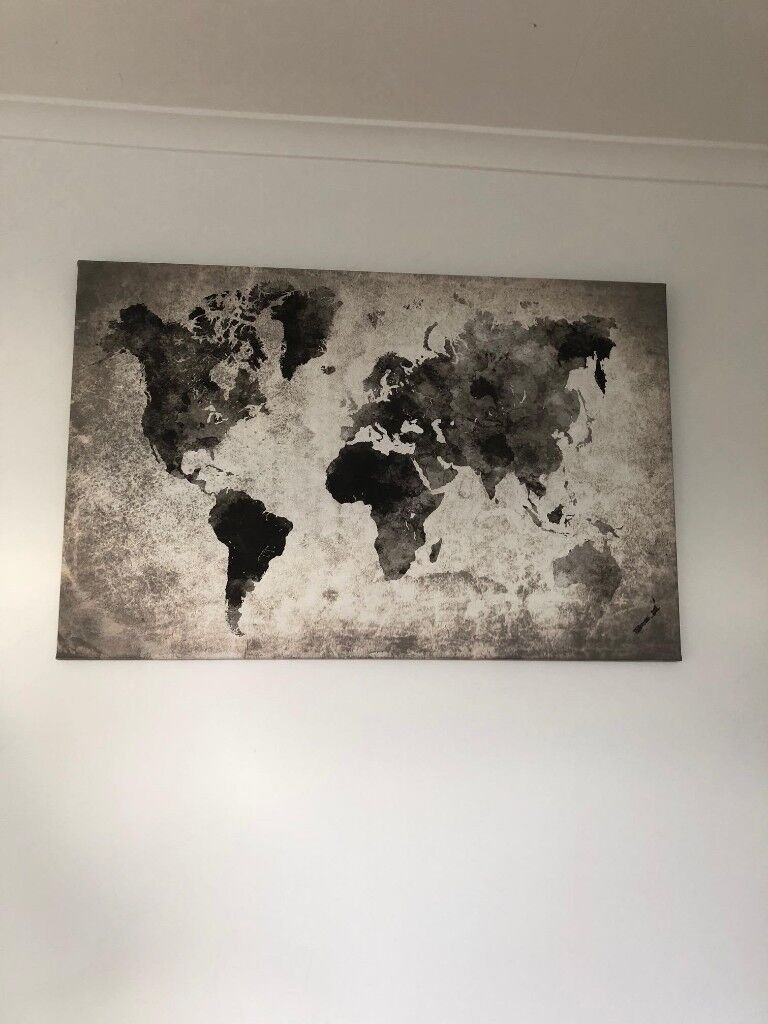 World Map Canvas Grey In Notting Hill London Gumtree - World map canvas grey