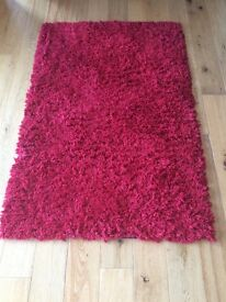 Large Red Fluffy Rug