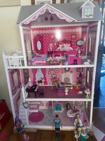 Barbie doll house, jet, camper and car