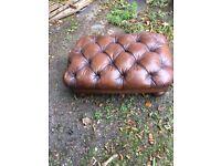 Rare Leather chesterfield Tetrad Oskar footstool